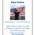 Flyer announcing the Bryce Carlson Welcome Home event.